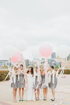 Geronimo Balloons, Bridal Party, Grey and Pink party, Minnesota wedding photography by Canary Grey