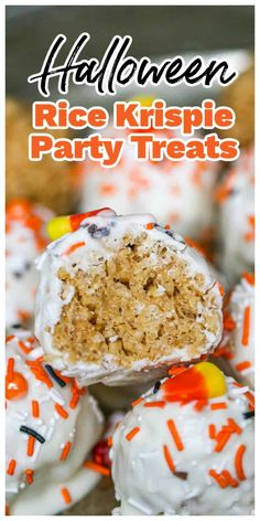 These fun and festive cereal treats have the best of two of our favorite combinations, white chocolate and peanut butter! Yay for party treats that are gooey, chewy Rice Krispies!! Made with marshmallow and peanut butter, deliciously coated with rich, white chocolate and some holiday-ish sprinkles to make it Fall-Official! Woot! Woot! #cerealtreats #peanutbutterricekrispies #ricekrispietreats #fallnobake #fallparty #partytreats #whitechocolatecrispytreats #whitechocolatepeanutbutter