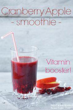 Cranberry Apple smoothie #recipe #4pure #smoothie #cranberry #apple www.4pure.nl (recipes in English and Dutch)