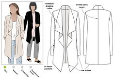 Knee length jacket with waterfall collar