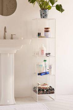 Bathroom Storage and Organization: Urban Outfitters Slim Perforated Metal Storage Ikea Bathroom, Bathroom Furniture, Bathroom Ideas, Bathroom Hacks, Bathroom Grey, Bathroom Hardware, Simple Bathroom, Bathroom Shelves, Bathroom Remodeling