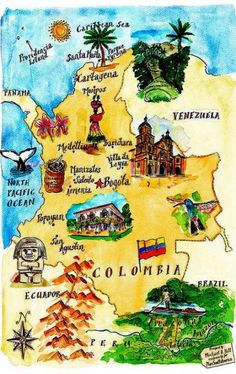 Colombia tourist map - New Site Colombian Culture, Colombian Art, Colombia Memes, Central America Map, Columbia South America, Colombia Travel, Colombia Flag, Travel Supplies, Tourist Map