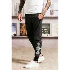 Mens Fitted Joggers - Black/Grey Marl