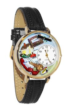 Whimsical Watches Realtor Black Skin Leather And Goldtone Watch