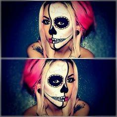 maquiagem halloween - make up halloween - diy makeup - Maske Halloween, Halloween Kostüm, Halloween Costumes, Halloween Painting, Vintage Halloween, Halloween Makeup Sugar Skull, Sugar Skull Makeup, Sugar Skulls, Skeleton Makeup