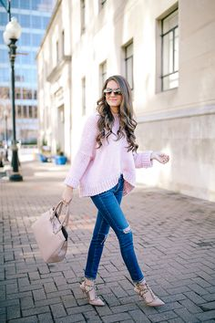 Pink Sweater + Valentino Dupes | Southern Curls & Pearls | Bloglovin'