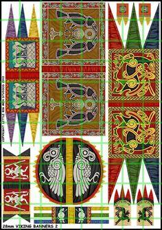 Viking Banners Two Viking Garb, Viking Costume, Viking Warrior, Medieval Banner, Medieval Art, Larp, Vikings Banner, Viking Embroidery, Nordic Vikings
