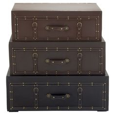 Set of 3 leather storage trunks   Joss and Main