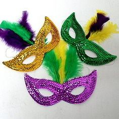 Mardi Gras sequin masks have the flexibility to provide comfortable fit while hollding their shape.  The masks also make cheap appliques for decorating second line umbrellas and other Mardi Gras accessories.   http://www.awnol.com/store/Masks/Mardi-Gras-Masks