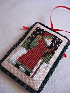 snippets and stash - Prairie Schooler Santa Santa Cross Stitch, Beaded Cross Stitch, Crochet Cross, Cross Stitch Samplers, Cross Stitch Embroidery, Cross Stitch Christmas Ornaments, Christmas Cross, Christmas Embroidery, Christmas Signs
