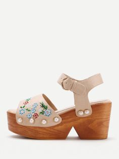 cc10b14ff0e2 Shop Flower Embroidered Wedge Sandals With Faux Pearl online. SHEIN offers  Flower Embroidered Wedge Sandals With Faux Pearl   more to fit your  fashionable ...