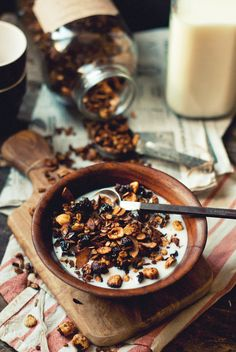 Chocolate hazelnut cherry granola
