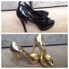SUPER STEAL 2 Pair Michael Antonio Heels, HP 2 Pair of Michael Antonio Peep Toe Heels, Size 8. One pair black, one pair gold. These have both been worn a few times and are in good shape with a few minor blemishes that can be seen in the photos. These run about a size larger and I believe they can fit a size 8.5 or 9. I wear an 8.5 and they fit me comfortably.  LOWEST PRICES ARE LISTED UPFRONT! Trade value: $40 Michael Antonio Shoes Heels