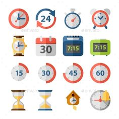 Clock And Time Flat Icon Set