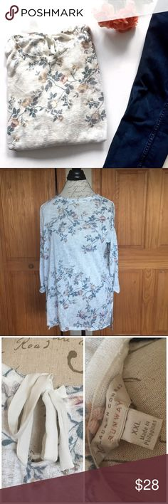 LC Lauren Conrad Runway Lightweight Floral Sweater Beautiful sheer lightweight sweater with cuffed 3/4 sleeves and keyhole back with tie. Perfect for spring! Excellent pre-loved condition.   🚫no trades 🚫no modeling ✅dog friendly/🚭smoke free home ✅reasonable offers ✅bundle & save! LC Lauren Conrad Sweaters Crew & Scoop Necks