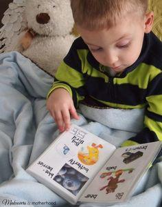 Alphabet Book, bear & Ethan; www.makeoversandmotherhood.com
