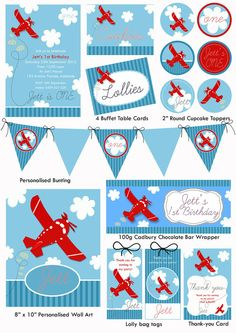Jet Plane Party Printable Pack by TweetPartyBoutique on Etsy, $50.00