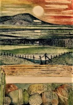 collagraph Gill Thompson Collagraph Printmaking, Printmaking Ideas, Abstract Landscape, Abstract Art, Sketch Painting, Linocut Prints, Art Club, Wall Prints, Landscapes