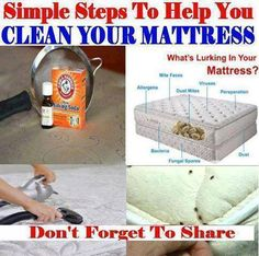 CLEAN YOUR MATTRESS: Pour about 1 cup of baking soda into a Mason jar & drop in 4 drops of lavender essential oil. Put on lid & shake jar. Using a kitchen strainer, sprinkle the baking soda mixture all over the mattress & let it sit for an hour or more. Thoroughly vacuum the mattress. Bye, bye dust mites & other nasty things! The baking soda helps draw up any moisture & deep dirtiness. It deodorizes & leaves the mattress smelling fresh & clean!