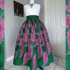 Pink and Green Leaf African Wax Print Gathered Maxi. ➡️This is a custom, handmade garment sewn to the desired measurements. ➡️Please see the 'How to Order' post for ordering info. ➡️Fabric selection page . Modest Skirts, Full Skirts, African Print Dresses, African Dress, African Attire, African Wear, African Inspired Fashion, African Fashion, Alpha Kappa Alpha Paraphernalia