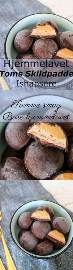 De lækreste ishapsere med smag af skildpadde uden at bruge Toms skildpadder! De er simpelthen så nemme og smager præcis som skildpadde og skildpaddeis. Haps haps! #Is #skildpadde #chokolade #karamel #dessert