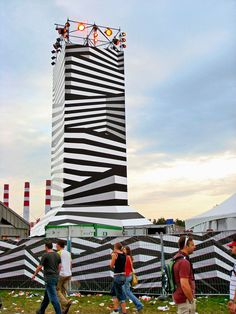 Dazzle rocket at Lowlands Music Festival in The Netherlands, designed by Experimental Jetset (2003, realised 2007). Supergraphics – Transforming Space: Graphic Design for Walls, Buildings and Spaces