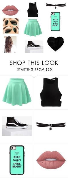 """""""ootd"""" by nataly-123 ❤ liked on Polyvore featuring LE3NO, T By Alexander Wang, Vans, Fallon, Casetify and Lime Crime"""