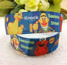 New arrival 7/8'' (22mm) sesame street printed ribbon Polyester Grosgrain ribbon gift package DIY hairbow accessories