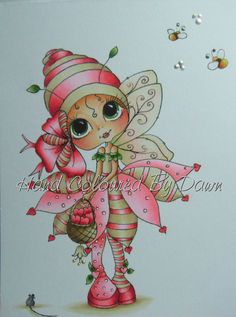 Ooak Card Topper Image - Sherri Baldy  Hand Coloured