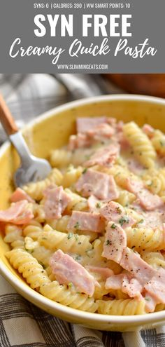 Easy slimming world recipes - This Quick Creamy Pasta is perfect for an easy lunch or dinner and combines just a few ingredients for a tasty flavoursome dish synfree slimmingworld weightwatchers pasta quickmeals smartpoints Slimming World Pasta Dishes, Slimming World Lunch Ideas, Slimming World Recipes Syn Free, Slimming World Quick Meals, Quick Lunch Recipes, Quick Healthy Meals, Healthy Pastas, Healthy Recipes, Quick Easy Lunch Ideas