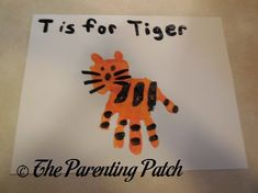T Is for Tiger Handprint Craft Make a letter T handprint craft with handprints and fingerprints using nontoxic paint. Letter T Crafts, Abc Crafts, Alphabet Crafts, Daycare Crafts, Classroom Crafts, Alphabet Activities, Craft Activities, Alphabet Book, Toddler Art