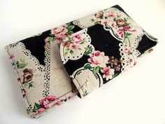 Fabric wallet Shabby chic Black Paris Eiffel tower Pink rose Kawaii Heart Doily Clutch