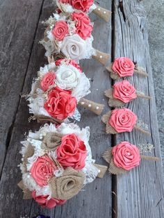 Beautiful coral silk and natural burlap by BurlapandLacePlace