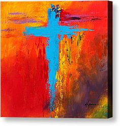 painting of crosses on canvas | Abstract Cross Painting Canvas Prints - Cross 3 Canvas Print by Kume ...