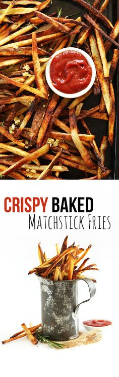 SUPER CRISPY Baked Garlic Matchstick Fries! So crispy and no frying involved! #vegan #glutenfree