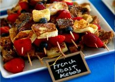 We find this to be a wonderful fun way to eat fruit and French Toast-- making breakfast ohsovery special: