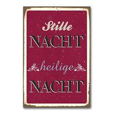 """weihnachtliche Wanddekoration Blechschild """"stille Nacht heilige Nacht"""" / ca. 30x45 cm / Weihnachtsdeko / vintage Cuadros Lifestyle http://www.amazon.de/dp/B00PAJTDUE/ref=cm_sw_r_pi_dp_X3Yyub1JYM3KM"""