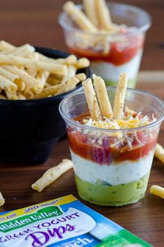 Layered Fiesta Dip with Greek Yogurt Ranch - use store-bought guacamole, salsa and Hidden Valley dry ranch mix for this very easy and convenient layered dip that's pretty, too! #sponsored