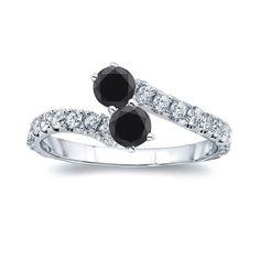 Auriya 14k Gold 1/2ct TDW Round-cut Black Diamond 4-prong, 2-stone Engagement Ring (Black, I1-I2) (Yellow Gold - Size 5.5), Women's