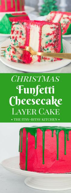 This Christmas funfetti cheesecake layer cake is delicious and full of holiday spirit. It's a must-serve dessert for your holidays parties! recipe via itsybitsykitchen.com #Christmas #cake #layercake