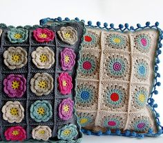 Dada's place: Rosie Posie Grannie Square pillow.. the patterns not 'right' but she links to the edging pattern..