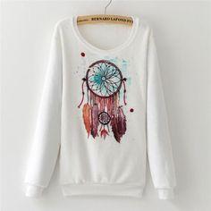 2016 Fashion Women Tops hoodies sweatshirts Cute Dream Catcher Printing Cotton Women's Flannel winter women
