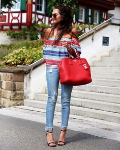 Show some shoulder in frayed denim and off-the-shoulder stripes via @fashionhippieloves' Saturday attire | Shop her look with www.LIKEtoKNOW.it | http://liketk.it/2oZBy #liketkit