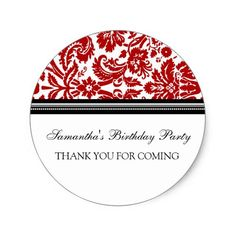Birthday Thank You Custom Name Favor Tags Red