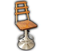 Teak Helm Chair Style w/ SS Hardware/ Back, Cherry | Barstools | Our Collections | Release Marine, Inc