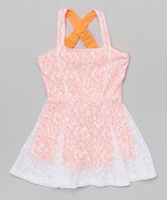 Coral & White Floral Eyelet Dress - Girls by Hello Gorgeous #zulily #zulilyfinds