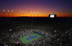 The sun sets over Arthur Ashe Stadium as Maria Sharapova takes on Tsvetana Pironkova during day two of the 2009 US Open