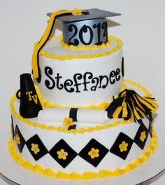 Cheer Theme Graduation Cake ~ NutMeg Confections