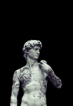 The David (by Diego Rueda) Vaporwave Art, Art Antique, Arte Obscura, Greek Art, Arte Pop, Michelangelo, Renaissance Art, Funny Art, Surreal Art