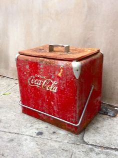 vintage red coca cola cooler.  would be good for storing....stuff